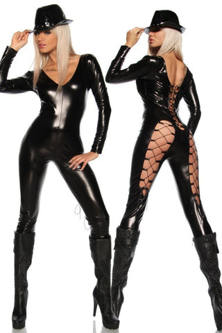 Black Erotic Latex catsuits for women