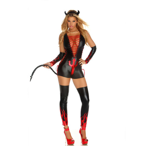 Red / Black Devil Latex bodysuit costumes for women