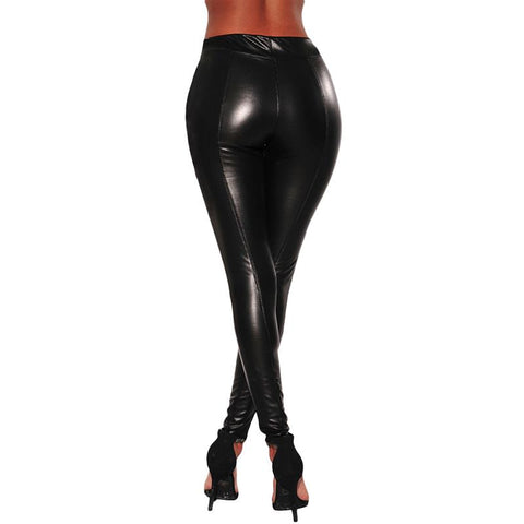 High Waist Black Latex Pants for Women