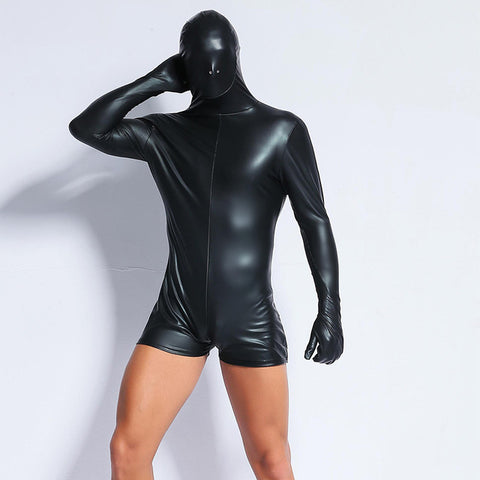 Black Jumpsuit Latex bodysuit costume for men