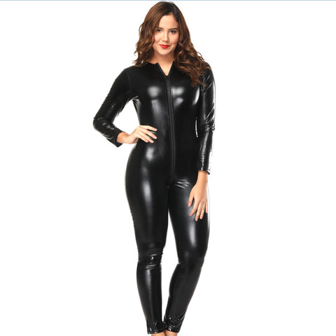 Black Backless Latex Catsuits for Women