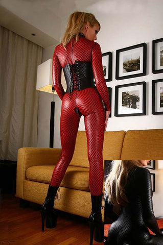 Red / Black Sexy Tight Latex catsuits for women