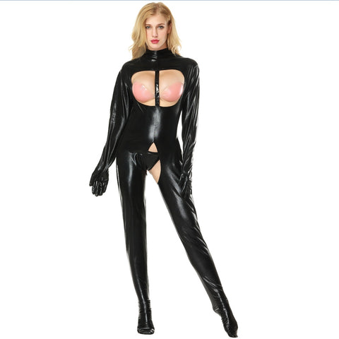 Dangerously Exposed Latex Catsuit