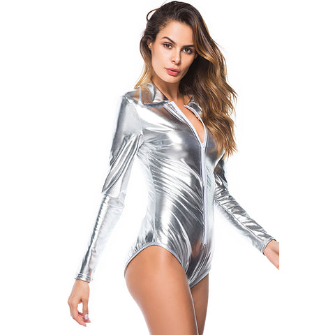 Black / Gold / Silver Sexy Latex leotards for women