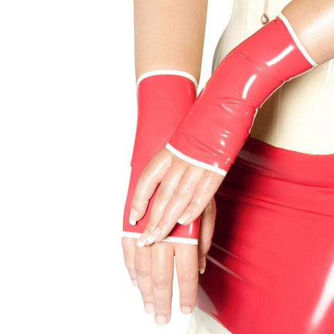 Half Latex Fingerless Gloves