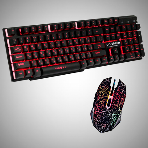COMBO GAMER - Teclado Gamer + Mouse Gaming Pro 2400DPI LED Óptico 6D