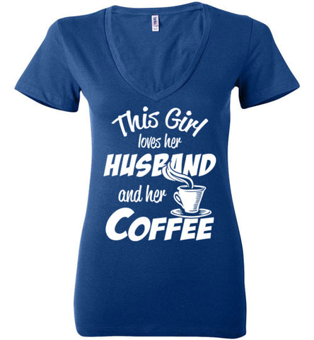 Husband Coffee V neck Tee - marc's funny tees