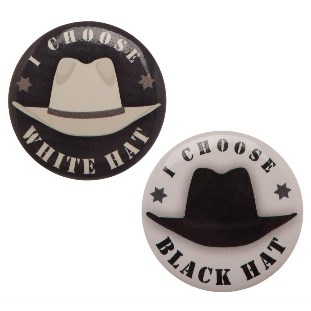 Westworld Black & White Hats Button Set - Good Guy Bad Guy Buttons - marc's funny tees