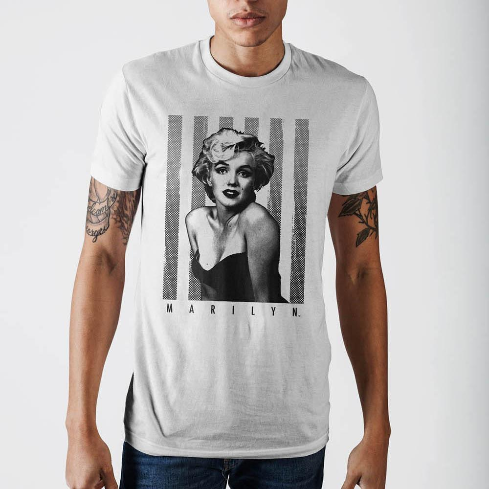 Marilyn Over Stripes Odp T-Shirt - marc's funny tees