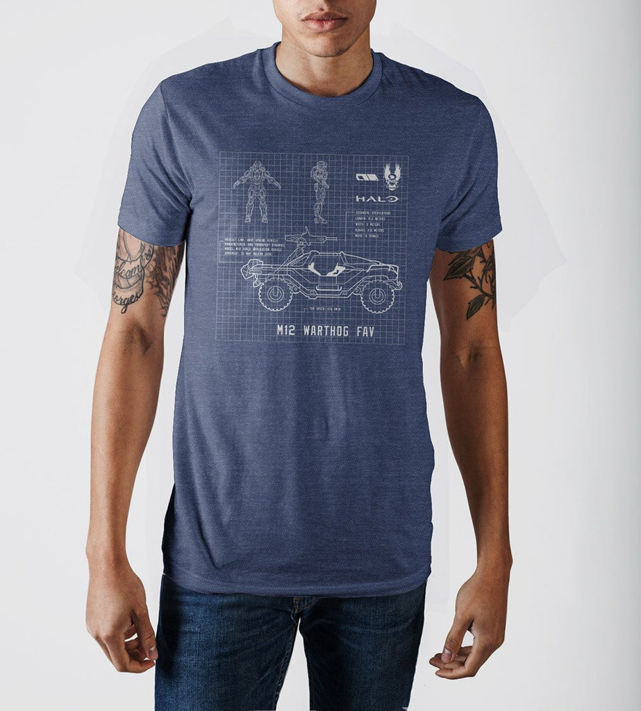 Halo Warthog Blueprint Design Navy Blue Graphic Print T-Shirt - marc's funny tees