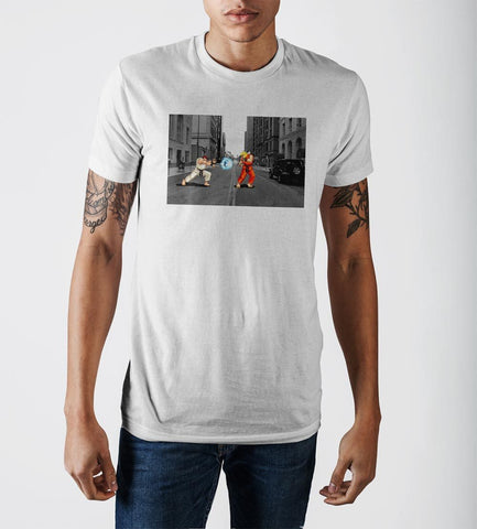 Capcom Street Fighter Ryu Ken Masters Action Shot White Soft Hand Print T-Shirt - marc's funny tees