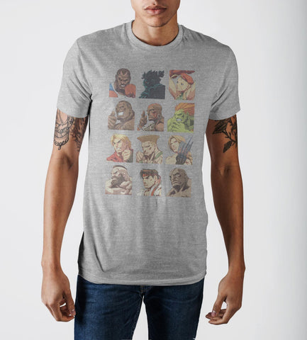 Capcom Street Fighter Vintage Character Grid Grey Graphic Print T-Shirt - marc's funny tees