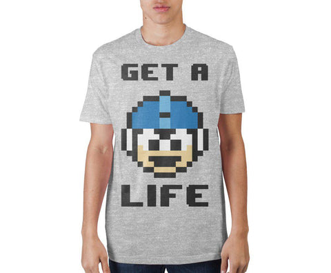 Capcom MegaMan Get A Life 8-Bit Athletic Heather Grey Crew Neck Print T-shirt - marc's funny tees