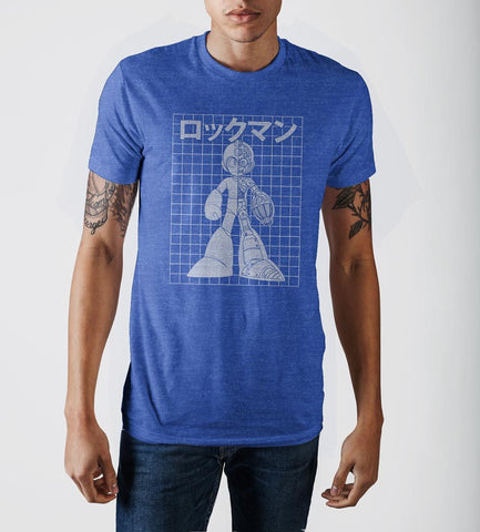 Capcom MegaMan Cool Digital Royal Blue Heather Crew Neck Print T-shirt - marc's funny tees