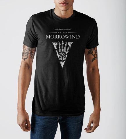 The Elder Scrolls III Morrowind Emblem Black Graphic Print T-shirt - marc's funny tees