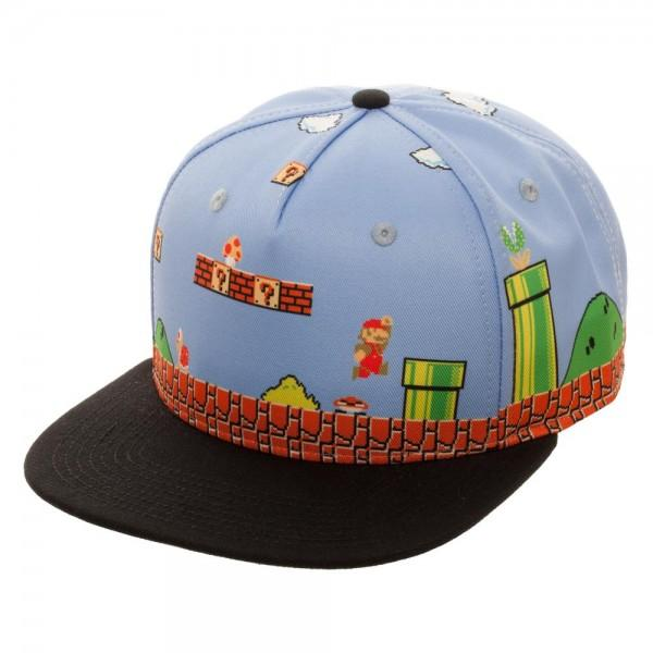 Mario 8-Bit All Over Scene Snapback - marc's funny tees