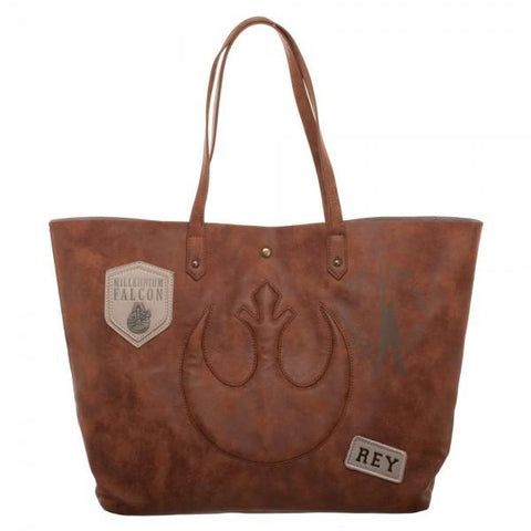 Star Wars Episode 8 Rebel Patch and Metal Logos Juniors Tote Bag - marc's funny tees