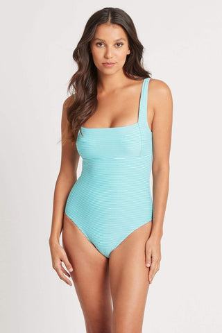 Positano Stripe Aqua Square Neck One Piece