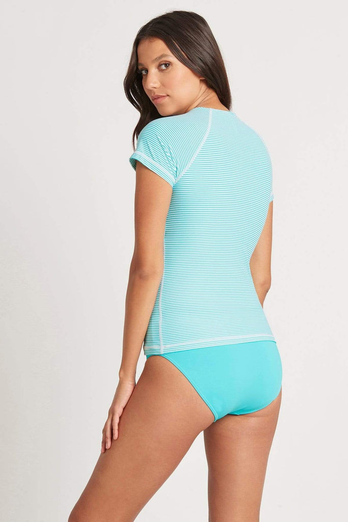 Positano Stripe Aqua Short Sleeve Multifit Rash Vest