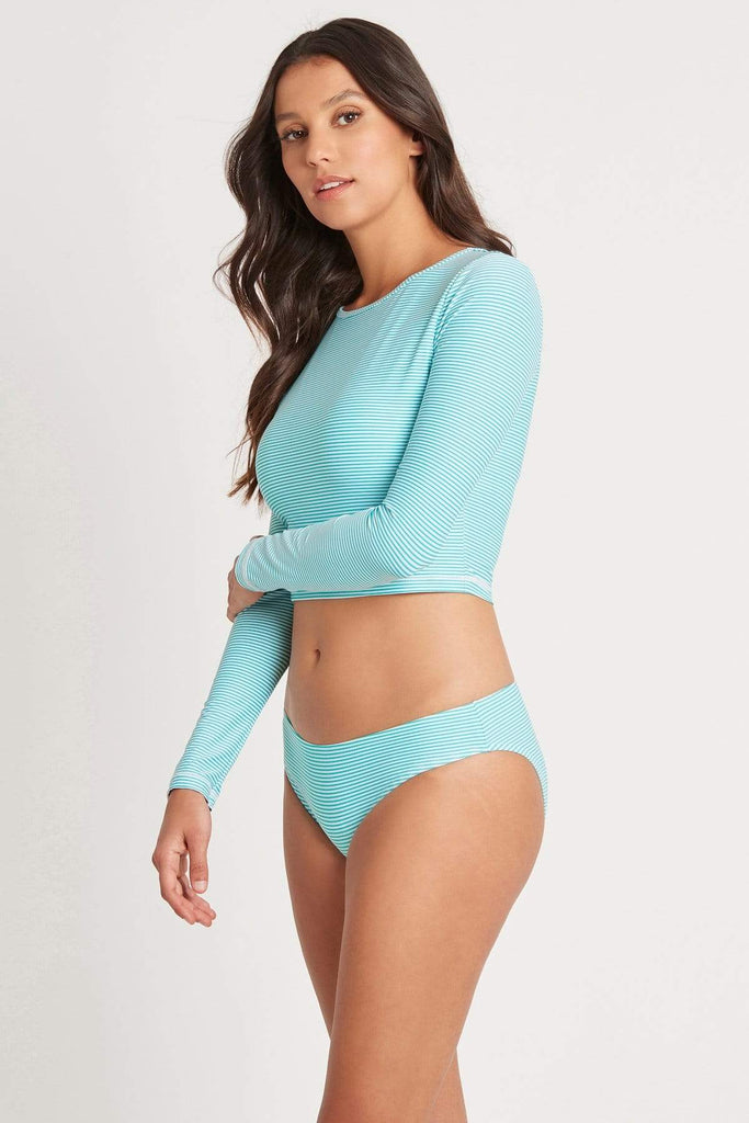Positano Stripe Aqua Long Sleeve Crop Rashie Top
