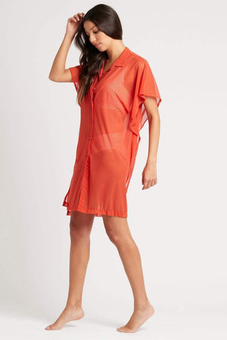 Positano Stripe Orange Mesh Beach Shirt
