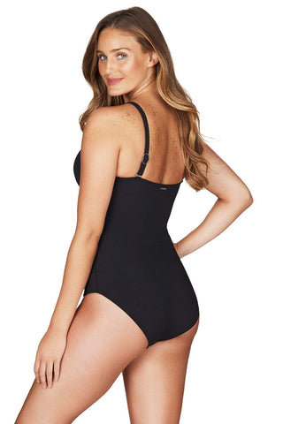 Riviera Rib Black Cross Front Multifit One Piece <br> Final Sale
