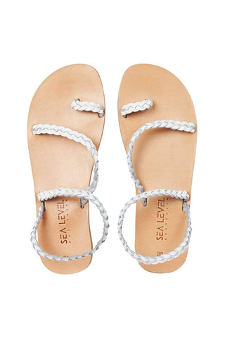 White Plaited Sandals <br> Final Sale
