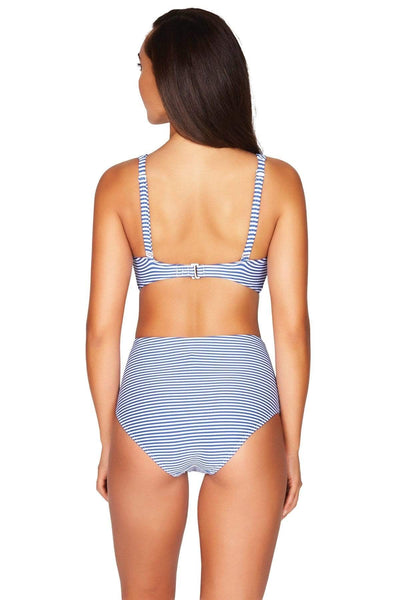 Sorrento Stripe French Blue High Waist Gathered Side Pant