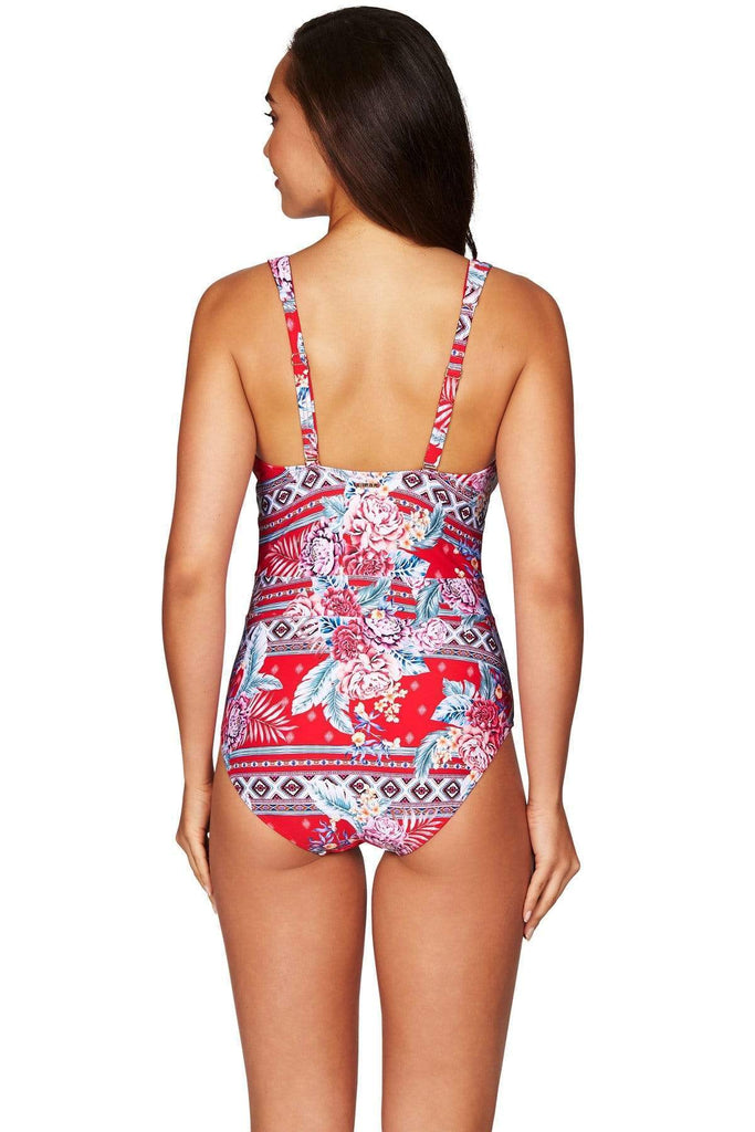 Aztec Rose Red Lace Up Spliced One Piece <br> Final Sale