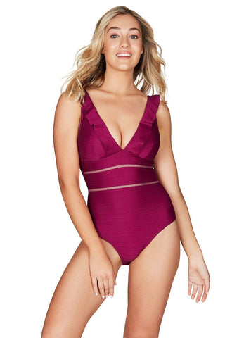 Casablanca Ruby Spliced Frill One Piece