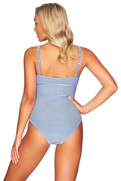 French Blue Sorrento Stripe Square Neck One Piece