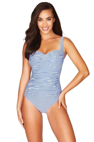 French Blue Sorrento Stripe Twist Front Multifit One Piece