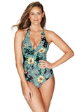 Marrakesh Black Twist Front Halter One Piece