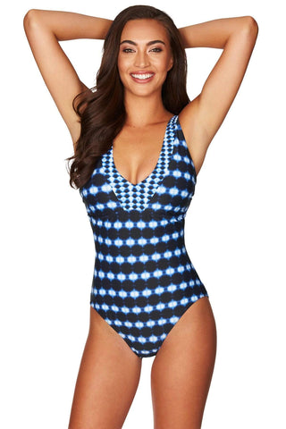 Bandhani Navy Tank Style D/DD Cup One Piece <br> Final Sale