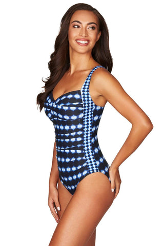 Bandhani Navy Twist Front Multifit One Piece <br> Final Sale