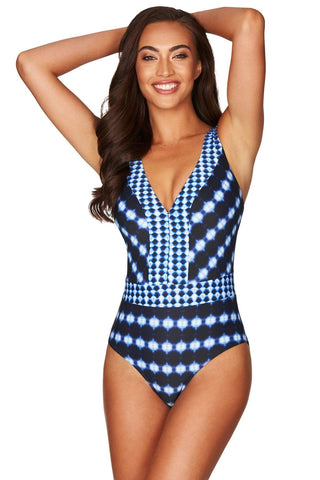 Bandhani Navy Waisted Multifit One Piece <br> Final Sale