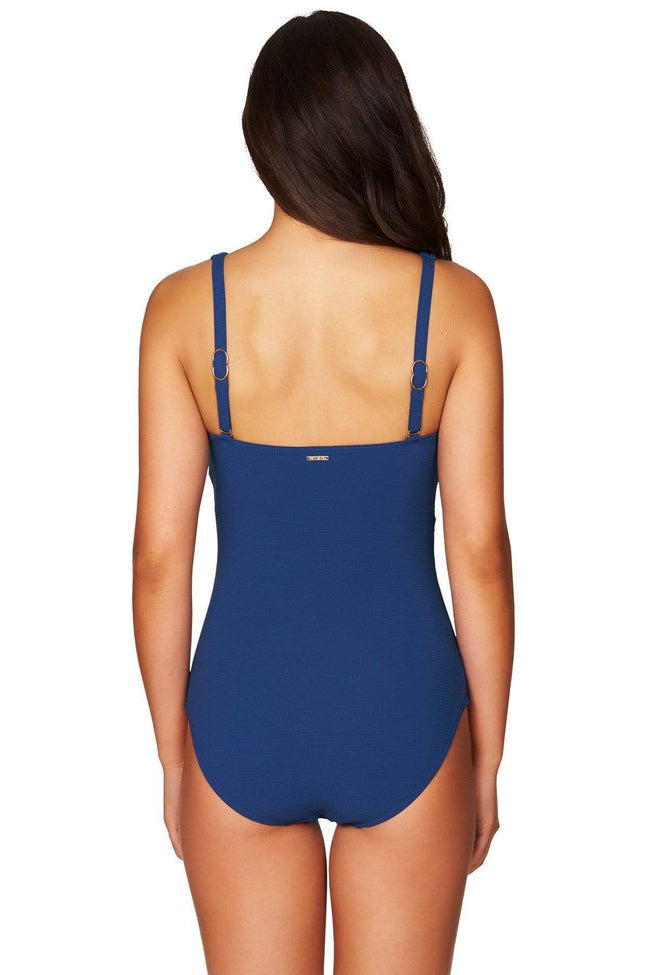 Ocean Blue Riviera Rib Cross Front Multifit One Piece