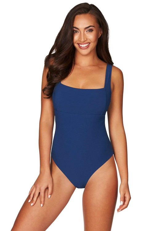 Ocean Blue Riviera Rib Square Neck One Piece