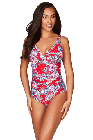 Aztec Rose Red Cross Front Multifit One Piece <br> Final Sale