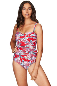 Aztec Rose Red Twist Front Bandeau One Piece