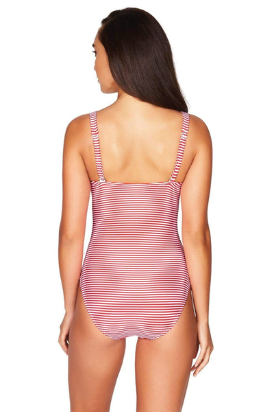 Sorrento Stripe Red Twist Front Multifit One Piece