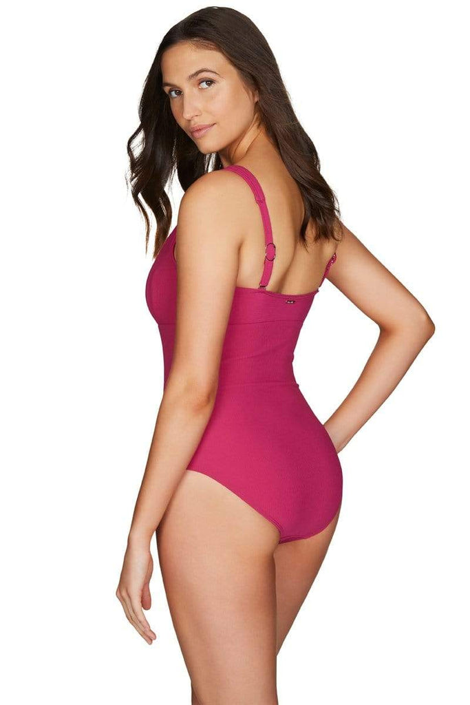 Riviera Rib Rose Square Neck One Piece <br> Final Sale