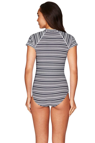 Tulum Stripe Short Sleeved One Piece
