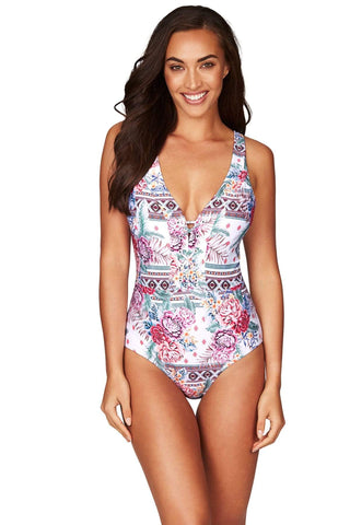 Aztec Rose White Lace Up Spliced One Piece <br> Final Sale