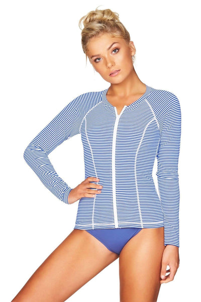 Sorrento Stripe French Blue Long Sleeve Rash Vest