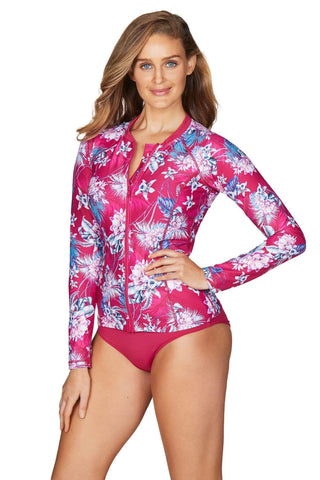 Bahamas Rose Long Sleeve Multifit Rash Vest <br> Final Sale
