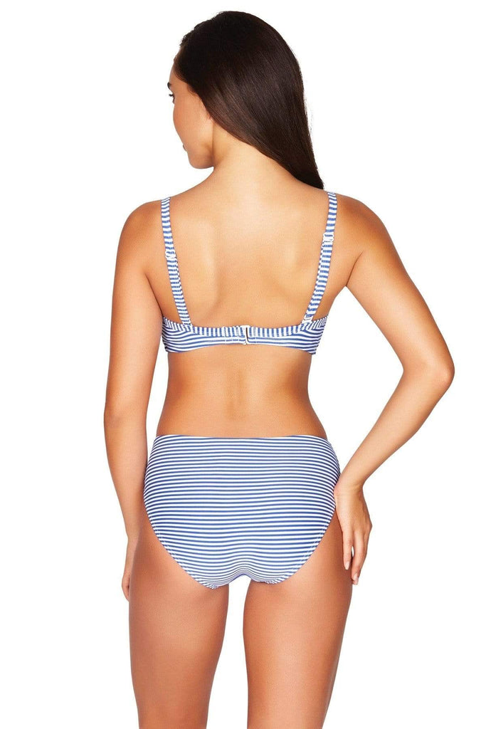 Sorrento Stripe French Blue Cross Front Moulded Underwire Bra