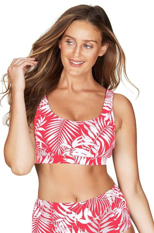 Morocco Red Crop Tank Swim Top