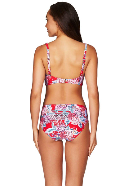 Red Aztec Rose Cross Front Bra Top