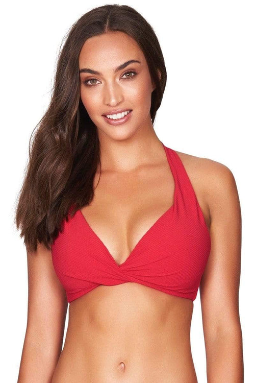 Red Rib Multifit Halter Bra Top